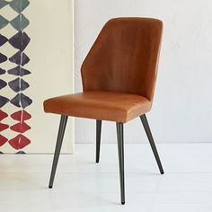 Crawford Leather Dining Chair Sets Westelm Room Chairs Brown