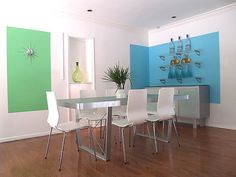 Awesome Wall Paintings Decorations : Beautiful Wall Painting Design With Green And Blue Accents For Dining Room Wall Painting Decor, Wall Decor, Painting Walls, Wall Paintings, Painting Art, Blue Walls, White Walls, Narrow Rooms, Interior Decorating