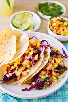 Fish Tacos with Cantaloupe-Pineapple Salsa by foodiebride
