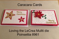 Poinsettia Christmas Handmade Card  Embossing folders and Merry Christmas die sentiment. 2016