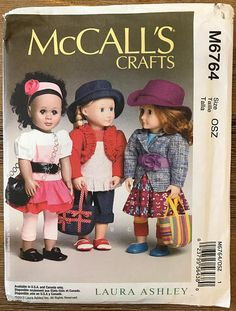 UNCUT McCall's 6764 Doll Clothes Sewing Pattern Fits