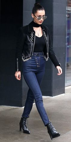Bella Hadid knows how to wear a leather jacket.