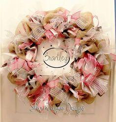 Shawn Weigman Designs custom baby wreath! Available on etsy.com/shop/shawnweigmandesigns.