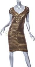 Tadashi Collection Gold Bandage Dress Size S