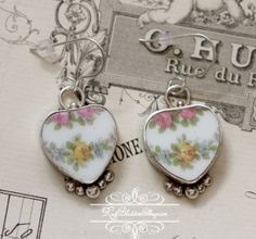 ♕ Broken china jewelry, Antique Yellow and Pink Roses Sterling Earrings,  www.RoseBlossomCottage.com, $56.75