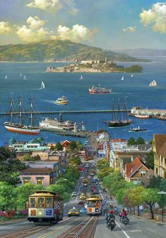 Hyde Street View by Alexander Chen Baie De San Francisco, San Francisco City, San Francisco California, California Usa, San Francisco Alcatraz, San Francisco Skyline, Places To Travel, Places To See, Ville New York