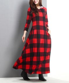 Another great find on #zulily! Red Buffalo Check Hooded Maxi Dress #zulilyfinds