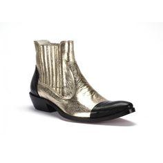 COMODO E SANO zlaté pánské kožené kovbojky s černou špičkou a patou - manozo.cz Ankle, Boots, Fashion, Luxury, Crotch Boots, Moda, Wall Plug, Fashion Styles, Shoe Boot