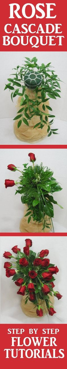 Red Rose Wedding Bouquet - Easy DIY Flower Tutorials  Learn how to make bridal bouquets, wedding corsages, groom boutonnieres, church decorations and reception table centerpieces.  Buy wholesale flowers and discount florist supplies.