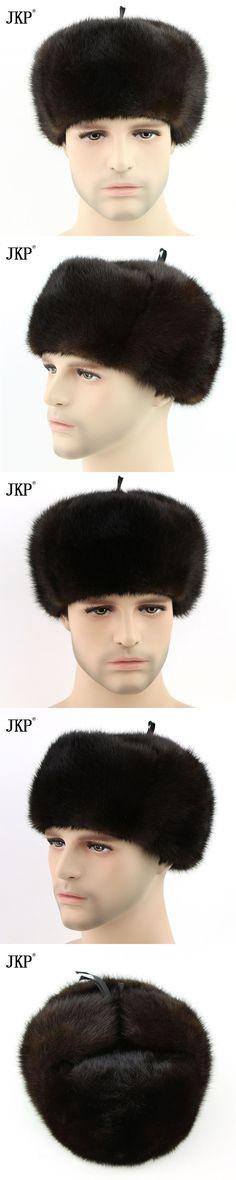 Hot Russia Men Mink Fur Set Hat Winter Fur Hat Hot Genunie New Men Authentic Formal Solid Fur Caplets ZD-02 Leather Cap