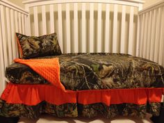 Items similar to Camo 4 piece set made with Mossy Oak fabric and Orange minky dot baby Crib or TODDLER Bedding Set with and Monograms pillow on Etsy Baby Boy Room Decor, Baby Nursery Themes, Baby Boy Rooms, Baby Cribs, Girl Room, Kid Rooms, Camo Crib Bedding, Baby Bedding Sets, Crib Sets