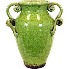 Add an antiqued touch to your home with this crackled vase, featuring a weathered green finish.  Product: VaseConstr...