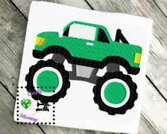 Spring Green Monster Truck, Boys Truck, Truck Design, Machine Embroidery, Embroidery Design Green Truck, Filled stitch, Instant download by CraftyHooahMommy on Etsy