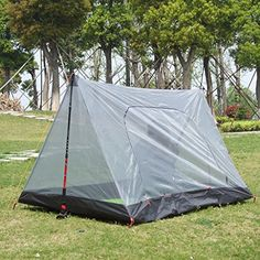 Hikingworld Lightweight Camping 2 Person Anti-Mosquito Net /Tent. Material : High density perspective net+210T polyester taffeta waterproof bottom. Size: 78.7'' x 47.2''x.43.3'' (200 x 120 x 110 cm ) (L*W*H) Weight: 1.58 pounds. Large Clean space: Suitable for two 2 person, Two zippered door ,Convenient to come in and out. Splendid ventilation, keep the space cool. Easy to install, can be supported by mountaining rod or any other rods . can be fixed easily . Applicable to climbing, camping…