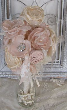 Fabric Flower  Bouquet Champagne and Cream by mybrokenart on Etsy, $72.00