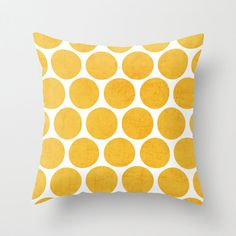 Yellow Polka Dots Throw Pillow  Geometric by LushTartArtProject