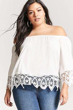 Plus Size Crochet Lace Off-the-Shoulder Top