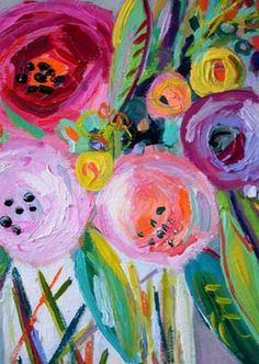 Small still life painting featuring abstract bold and bright blooms in a vase. Painted with acrylic and oil stick on extra deep canvas so no
