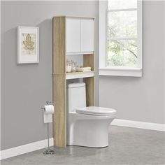 Ameriwood Furniture | Stafford Over the Toilet Storage Cabinet, Light Weathered Oak