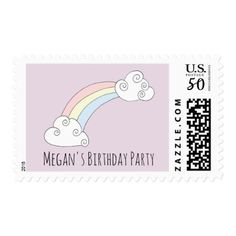 Girl's Cute Birthday Party Doodle Rainbow and Name Postage - girly gifts special unique gift idea custom