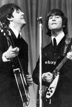 John Lennon Paul McCartney w Hofner Rickenbacker Vox Python Strap Beatles Photo