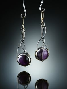 Amethyst Earrings. Fabricated Sterling Silver, 14k  and 18k. www.amybuettner.com https://www.facebook.com/pages/Metalsmiths-Amy-Buettner-Tucker-Glasow/101876779907812?ref=hl https://www.etsy.com/people/amybuettner http://instagram.com/amybuettnertuckerglasow