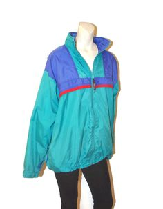 0591302a Vintage 1990's Teal Turquoise Zip Up Windbreaker Jacket with Hood Color  Block Size Large Pink Blue Nylon Lightweight Jacket Retro Sporty