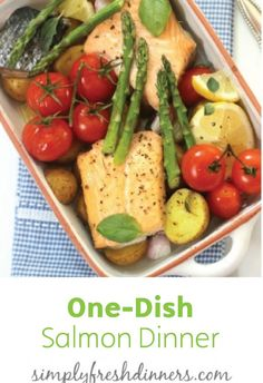 You only need to dirty up one dish to make this simple Salmon Dinner recipe with tomatoes, asparagus, potatoes and freshly squeezed lemon. Click here to see the full tutorial and quick recipe for dinner tonight!