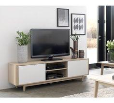 Narva TV-bord - TV-bord i olieret eg med hvide lågefronter