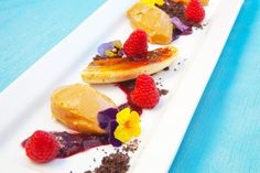 """Peanut butter mousse, brûléed banana & berry """"jelly"""""""