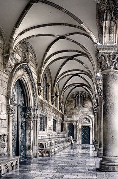the Rector's Palace, old town, Dubrovnik, Croatia, beautiful ribbed arches
