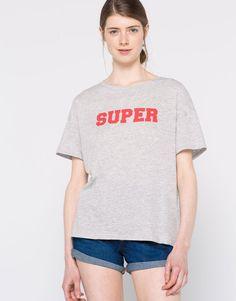 T-shirt texto - Manga curta - T-shirts - Vestuário - Mulher - PULL&BEAR Portugal