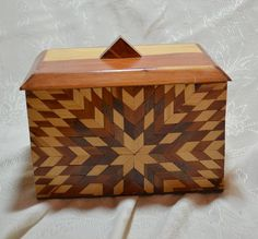 Vintage Large Cedar Wood Box Folk Art Inlaid by ChicMouseVintage