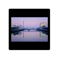 Glass Coaster. Bells Bridge over the River Clyde, Glasgow,