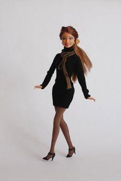 Теплое платье для Куклы Барби и колготки из трикотажа– выкройки, сшито вручную