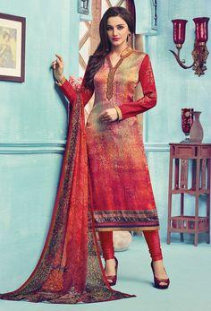 Red Satin And #Crepe Straight Cut #Suit #nikvik  #usa #designer #australia #canada #freeshipping #eid #dress