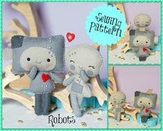 PDF. Robots charming and snow pattern .Plush Doll Pattern, Softie Pattern, Soft felt Toy Pattern.. , via Etsy.
