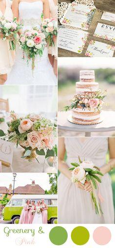 elegant rustic blush pink and greenery wedding colors
