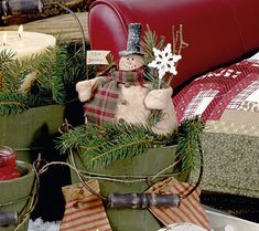 I'd decorate the log cabin with country Christmas crafts like this one.