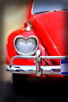 Red Volkswagen Beetle with heart-shaped headlights. The ultimate Love Bug ❤️ My Dream Car, Dream Cars, Vw Caddy Mk1, Vw T1 Camper, Volkswagen Bus, Carros Vintage, Vw Vintage, Vintage Signs, I Love Heart
