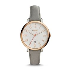 Designed for the girl with a certain charm, Jacqueline is the watch that pulls it all together. A gray leather strap paired with our signature steel case makes it a tomgirl classic.