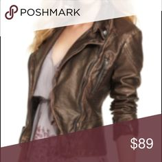 Free People vegan leather jacket In excellent condition. Color is bronze Free People Jackets & Coats