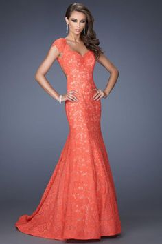 2014 Prom Dresses/Formal Dresses/Long Dresses/Short Sleeve Mermaid Open Back With Trumpet Lace Skirt