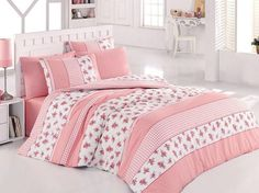 Update your little lady's bedroom with the adorable Levtex Home Melanie Ruffled Quilt Set. Boasting girly, flirty style, the quilt is light and bright with stripes of pink patterned quilting separated with white ruffled fabric; reverses to a pink gingham. Furniture, Duvet Sets, Home, Pink Patterns, Duvet, Bed, Levtex, Bed Bath And Beyond, Woman Bedroom
