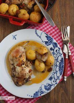 Receta de pollo asado con chorizo y patatitas. Receta de carnes y aves. Con fotos de presentación y del paso a paso y consejos de presentación y degustación
