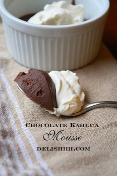 Chocolate Kahlua Mousse  Yield: 4 servingsPrep Time: 5 minutesCook Time: 30 minutes ingredients: 1 cup heavy cream 2 tbsp Kahlua 1 egg  1 egg yolk 1 cup semi sweet chocolate chips