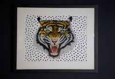 Standout with our statement hand-painted tiger wall art print.  Tiger Roar Giclee Print Giclee printed Fine quality paper Sized A3 Unframed