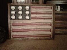 American Flag with Baseball bats and balls - completely hand made!