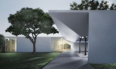 Johnston Marklee's Design for Menil Drawing Institute To Harness Gradients of Light,Menil Drawing Institute at dusk, looking past the west entrance courtyard. Image Courtesy of Johnston Marklee / The Menil Collection