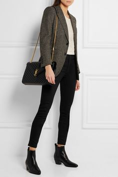 SAINT LAURENT - Cassandre large quilted textured-leather shoulder bag - Business Outfits for Work Business Casual Outfits For Women, Casual Work Outfits, Work Casual, Stylish Outfits, Winter Outfits, Cute Outfits, Business Casual Sneakers, Black Blazer Outfit Casual, Winter Business Casual